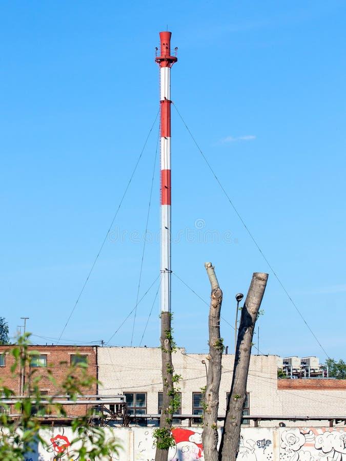 Der Baum als Fabrikkamin stockfotografie