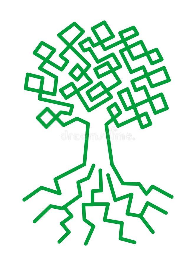 Der Baum des Lebens Baum gezeichnet durch eine Symbolzeichnung der einzelnen Zeile lizenzfreie abbildung