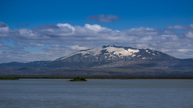Der berüchtigte Hekla-Vulkan, Süd-Island lizenzfreie stockbilder