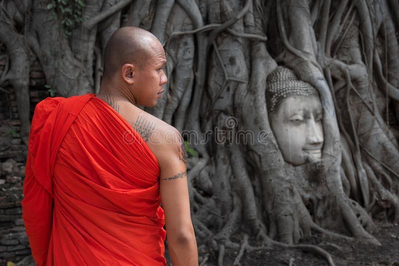 Der berühmte Buddha-Kopf bei Wat Mahathat in historischem Park Ayutthaya, Thailand lizenzfreies stockbild