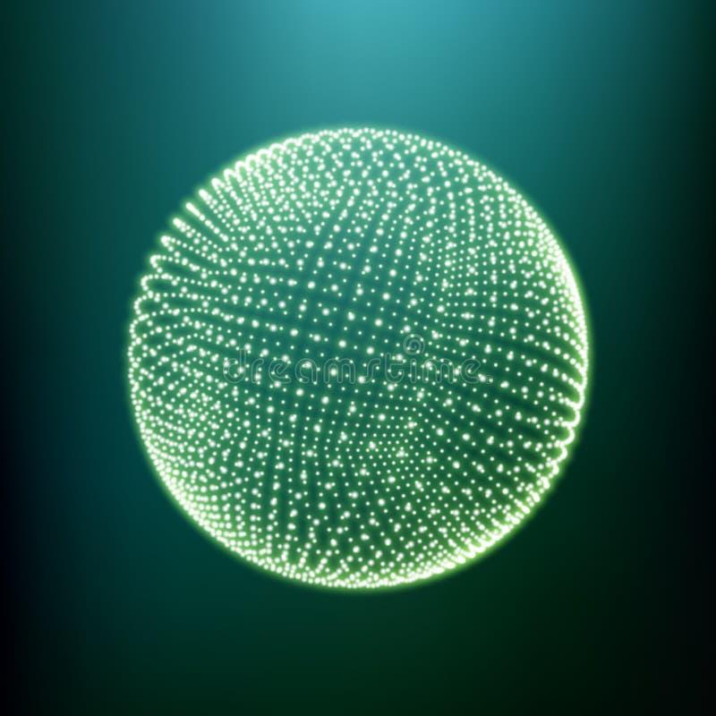 Der Bereich, der aus Punkten besteht Globale digitale Verbindungen Abstraktes Kugel-Gitter Wireframe-Bereich-Illustration Abstrak stock abbildung