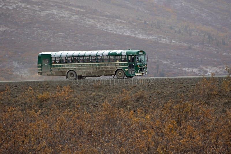 Der Besucher-Reisebus in Nationalpark Denali stockbilder