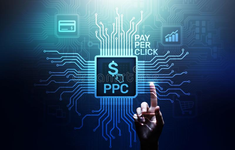 Der Bezahlung-pro-Klick- Internet-Geschäftskonzept Zahlungstechnologie PPC digitales vermarktendes auf virtuellem Schirm stockfoto