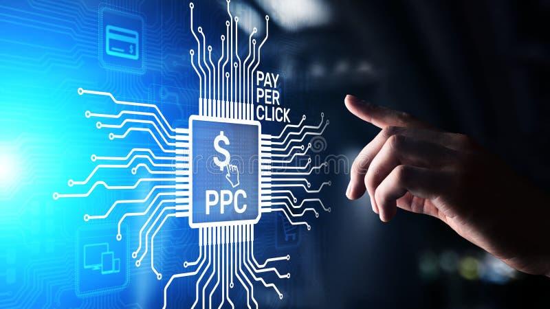 Der Bezahlung-pro-Klick- Internet-Gesch?ftskonzept Zahlungstechnologie PPC digitales vermarktendes auf virtuellem Schirm stockfotos
