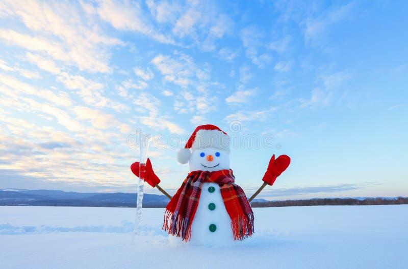 Der blauäugige lächelnde Schneemann im roten Hut, in den Handschuhen und im Plaidschal hält den Eiszapfen in der Hand Froher kalt lizenzfreie stockfotos