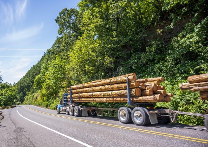 Der blaue große LKW der Anlage halb, der lang transportiert, meldet zwei halb Anhänger an, die auf dem grünen wickelnden Waldweg  lizenzfreie stockbilder
