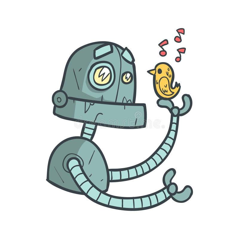 Der blaue Roboter, der auf kleinen Vogel hört, singen Karikatur umrissene Illustration mit nettem Android und seinen Gefühlen stock abbildung
