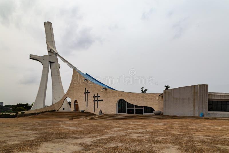 Der Blick auf die Kathedrale Abidjan Côte d'Ivoire stockbilder