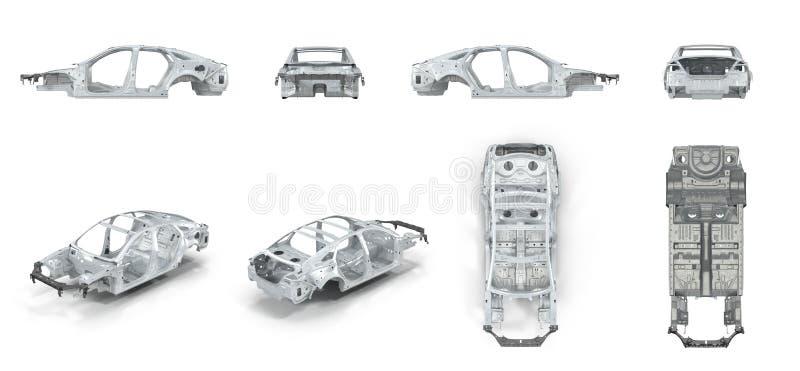Der Bodie des Autos vorbereitet für Produktion Auf Weiß überträgt Satz von den verschiedenen Winkeln auf einem Weiß Abbildung 3D stock abbildung