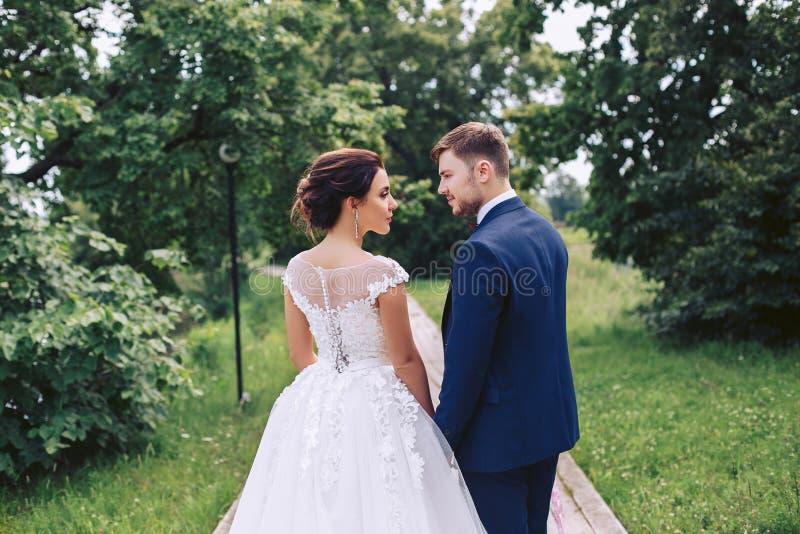 Der Bräutigam betrachtet die schöne Braut, die in den Park schlendert stockbilder