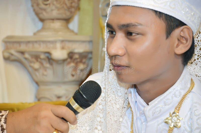 Der Bräutigam des Indonesiers stockfoto