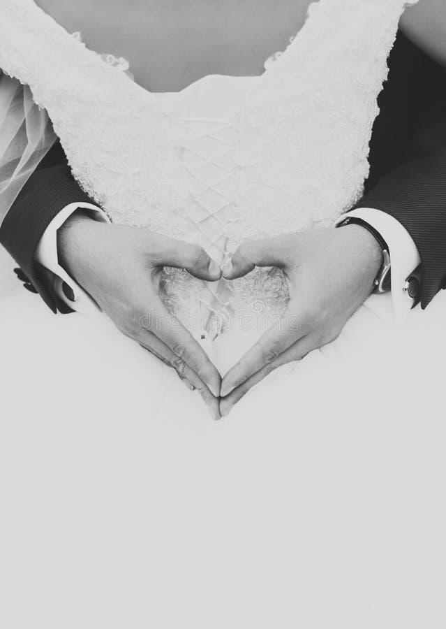 Der Bräutigam wurde in der Braut, die Hände des Bräutigams hatte ein Herz eingewickelt lizenzfreies stockbild