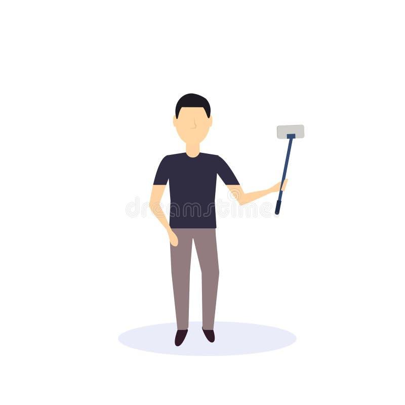 Der Brunettemann, der selfie Selbststock-Stellungshaltung tut, lokalisierte Ebene der gesichtslosen Zeichentrickfilm-Figur des Sc stock abbildung