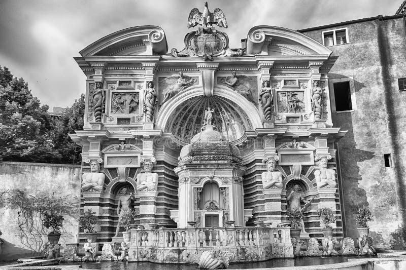 Der Brunnen des Organs, Landhaus d'Este, Tivoli, Italien stockfotografie