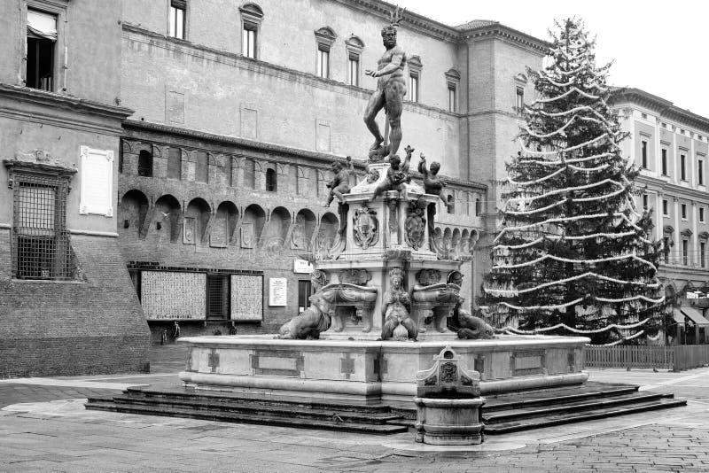 Der Brunnen von Neptun, Bologna, Italien lizenzfreies stockfoto