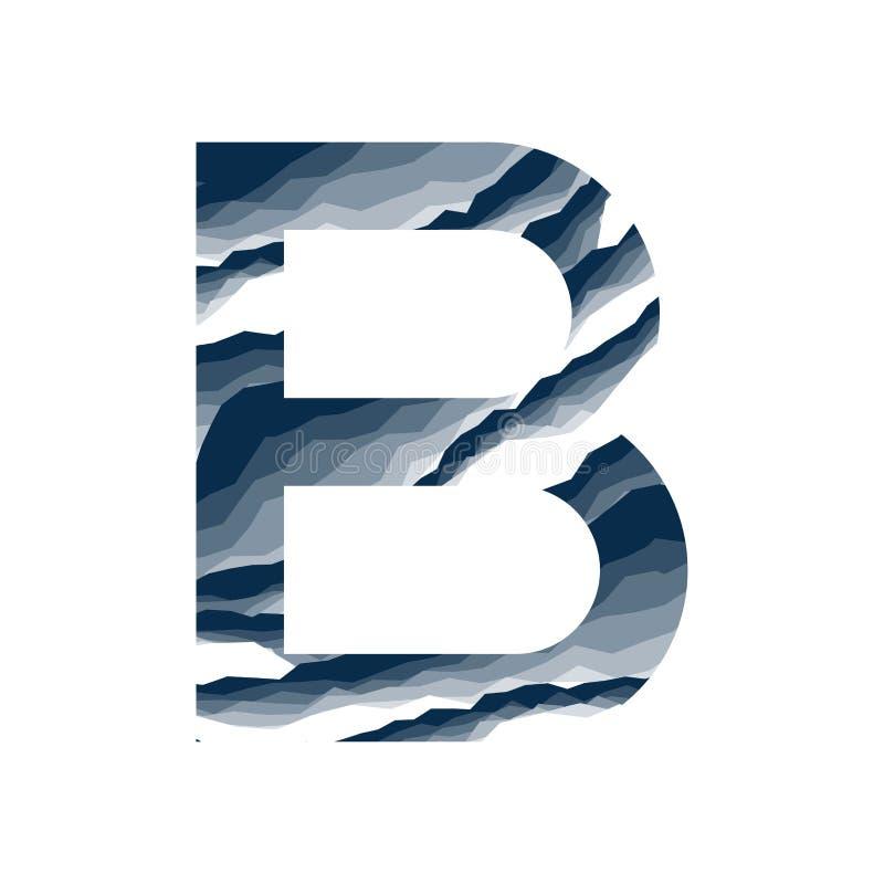 Der Buchstabe B, im Alphabetzusammenfassungs-Hintergrundmarmor, Barke, Berg, Steinschicht stellte dunkelblaue Schattenfarbe lokal vektor abbildung
