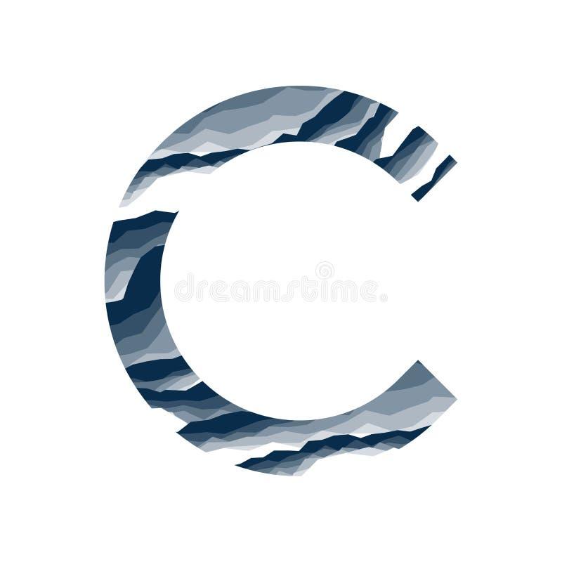 Der Buchstabe C, im Alphabetzusammenfassungs-Hintergrundmarmor, Barke, Berg, Steinschicht stellte dunkelblaue Schattenfarbe lokal stock abbildung