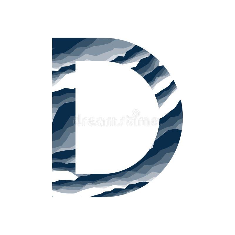 Der Buchstabe D, im Alphabetzusammenfassungs-Hintergrundmarmor, Barke, Berg, Steinschicht stellte dunkelblaue Schattenfarbe lokal lizenzfreie abbildung
