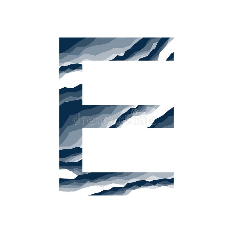 Der Buchstabe E, im Alphabetzusammenfassungs-Hintergrundmarmor, Barke, Berg, Steinschicht stellte dunkelblaue Schattenfarbe lokal lizenzfreie abbildung