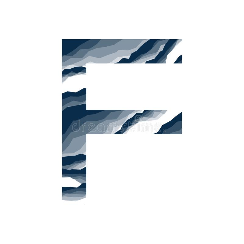 Der Buchstabe F, im Alphabetzusammenfassungs-Hintergrundmarmor, Barke, Berg, Steinschicht stellte dunkelblaue Schattenfarbe lokal vektor abbildung