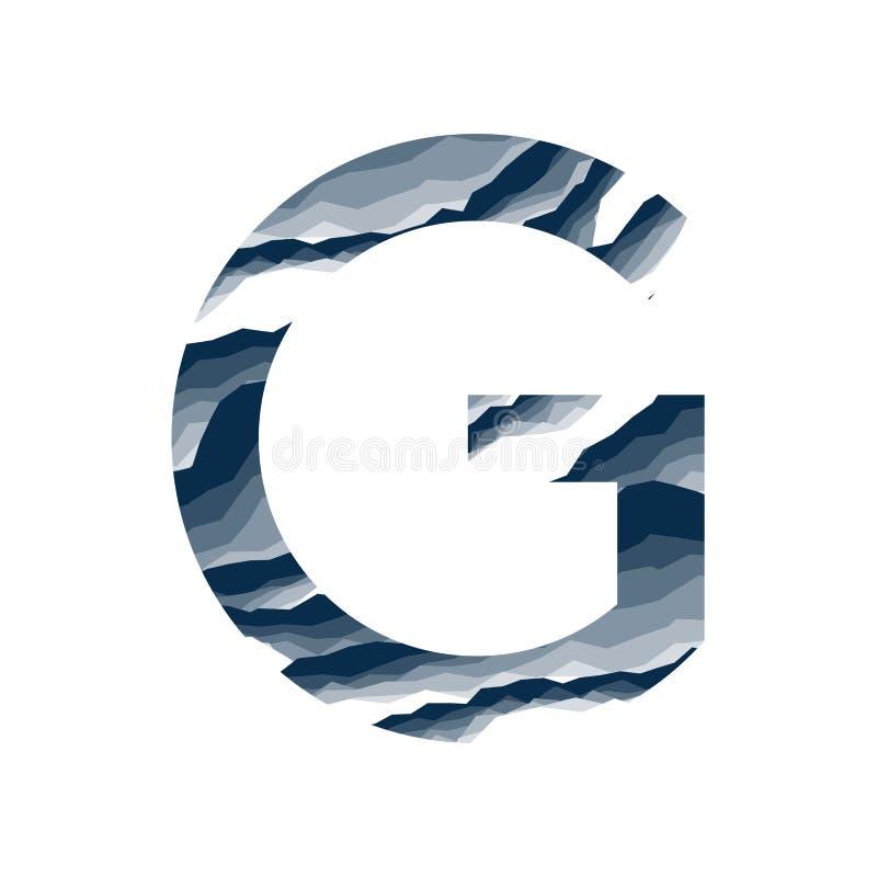 Der Buchstabe G, im Alphabetzusammenfassungs-Hintergrundmarmor, Barke, Berg, Steinschicht stellte dunkelblaue Schattenfarbe lokal vektor abbildung