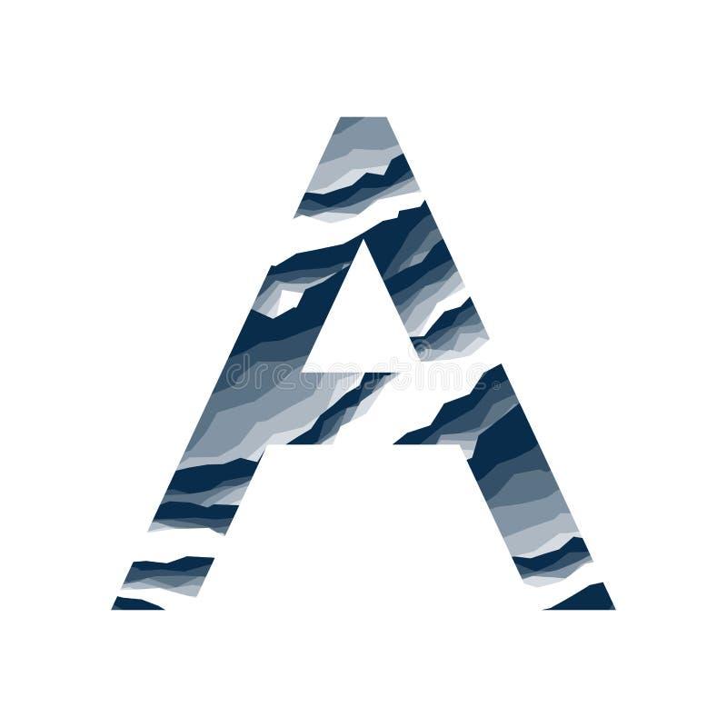 Der Buchstabe A, im Alphabetzusammenfassungs-Hintergrundmarmor, Barke, Berg, Steinschicht stellte dunkelblaue Schattenfarbe lokal lizenzfreie abbildung
