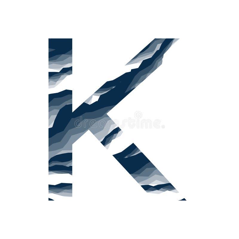 Der Buchstabe K, im Alphabetzusammenfassungs-Hintergrundmarmor, Barke, Berg, Steinschicht stellte dunkelblaue Schattenfarbe lokal stock abbildung