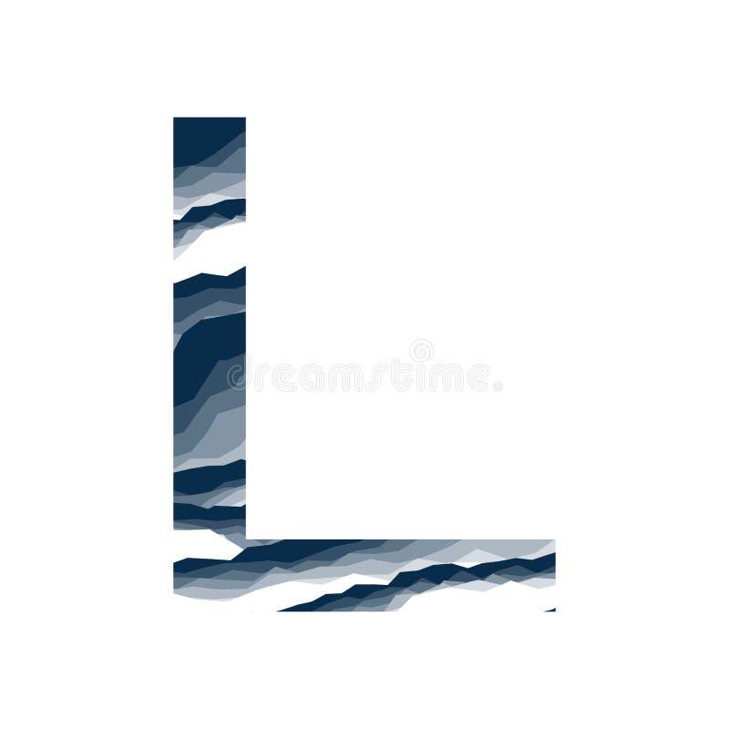 Der Buchstabe L, im Alphabetzusammenfassungs-Hintergrundmarmor, Barke, Berg, Steinschicht stellte dunkelblaue Schattenfarbe lokal lizenzfreie abbildung