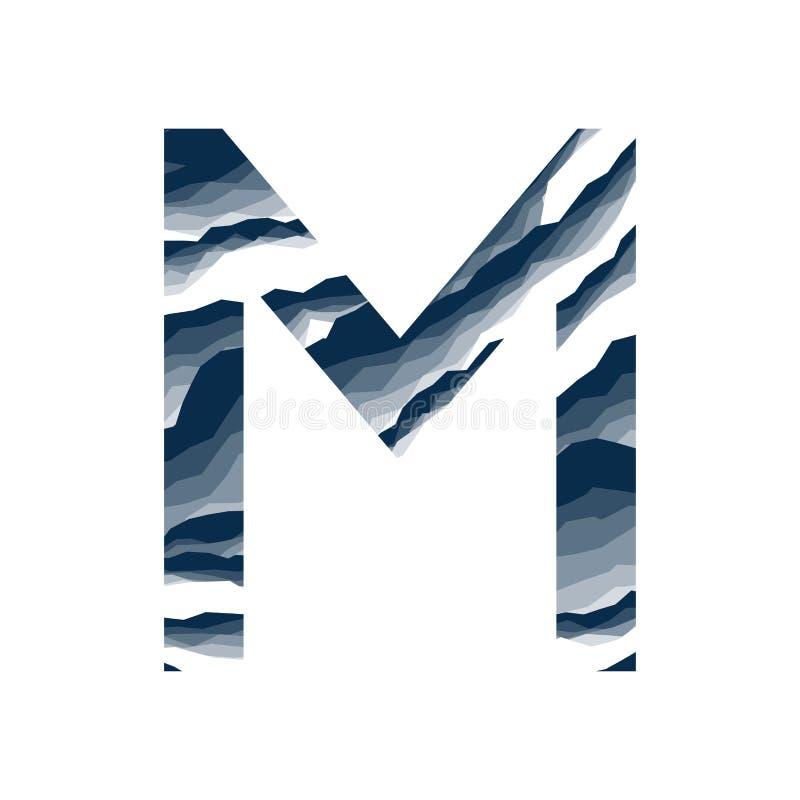 Der Buchstabe M, im Alphabetzusammenfassungs-Hintergrundmarmor, Barke, Berg, Steinschicht stellte dunkelblaue Schattenfarbe lokal stock abbildung