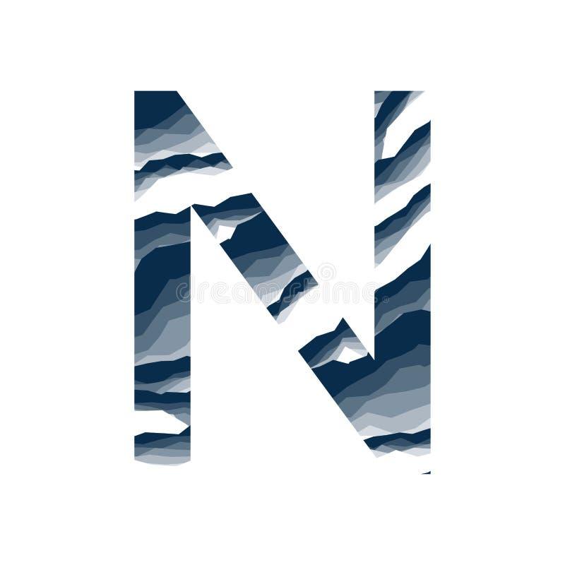 Der Buchstabe N, im Alphabetzusammenfassungs-Hintergrundmarmor, Barke, Berg, Steinschicht stellte dunkelblaue Schattenfarbe lokal vektor abbildung