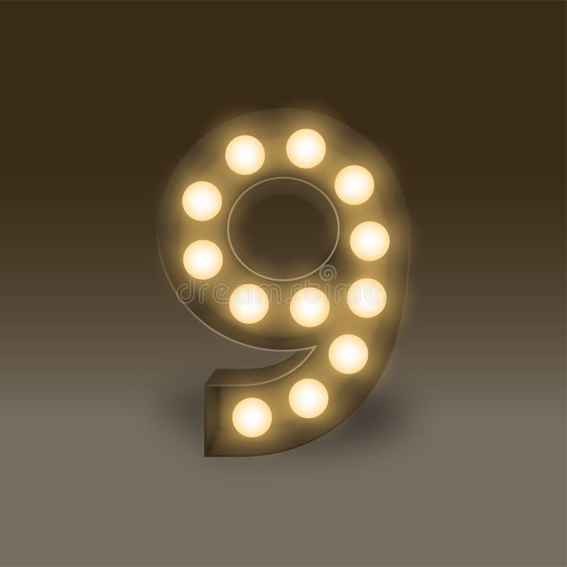 Der Buchstabe Nr. neun oder 9, in der Alphabet Glühlampe-Birnenguckkastenbühne, Retro- Art 3D der Illustration lokalisierte Glühe lizenzfreie abbildung