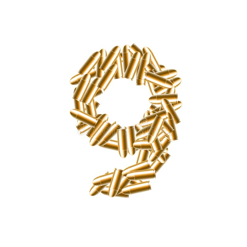 Der Buchstabe Nr. neun oder Farbe des Gold 9, in der Alphabetkugel s vektor abbildung