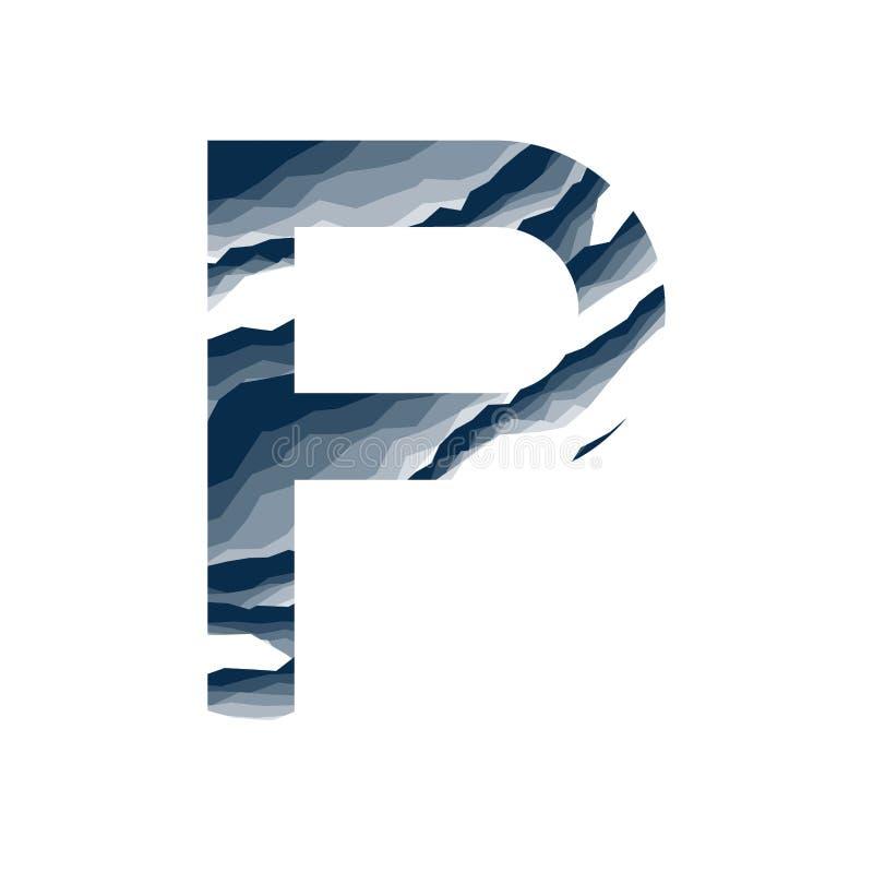 Der Buchstabe P, im Alphabetzusammenfassungs-Hintergrundmarmor, Barke, Berg, Steinschicht stellte dunkelblaue Schattenfarbe lokal stock abbildung