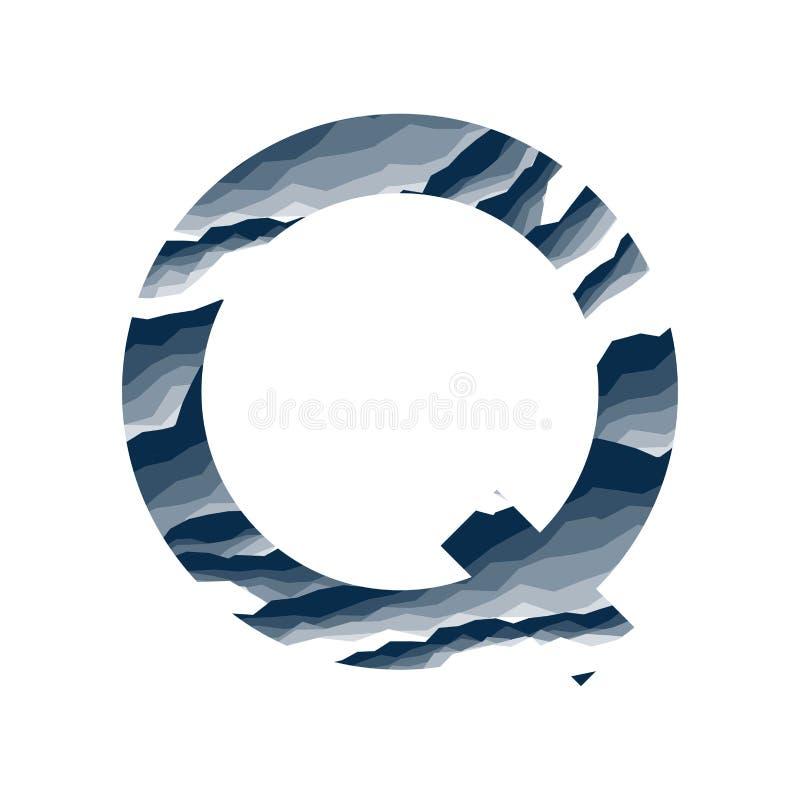 Der Buchstabe Q, im Alphabetzusammenfassungs-Hintergrundmarmor, Barke, Berg, Steinschicht stellte dunkelblaue Schattenfarbe lokal vektor abbildung