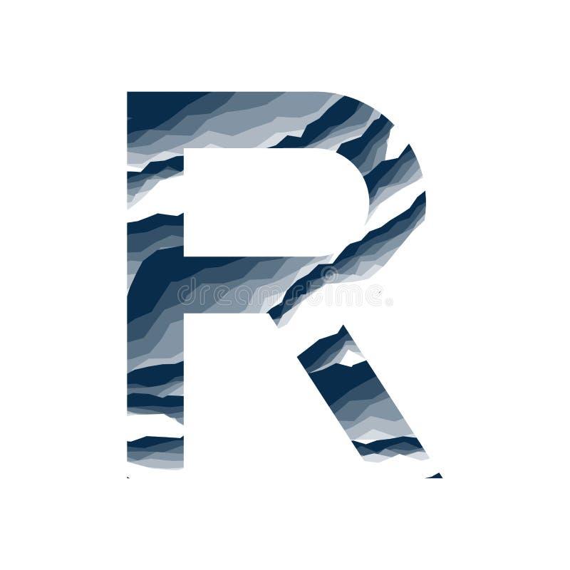 Der Buchstabe R, im Alphabetzusammenfassungs-Hintergrundmarmor, Barke, Berg, Steinschicht stellte dunkelblaue Schattenfarbe lokal vektor abbildung