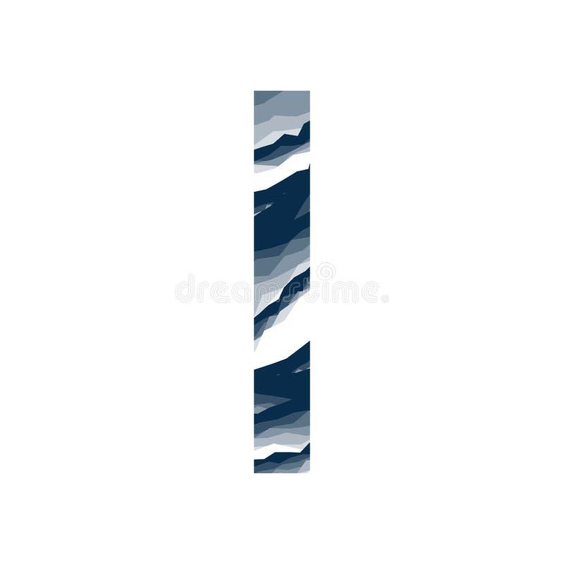 Der Buchstabe stellte ich, im Alphabetzusammenfassungs-Hintergrundmarmor, Barke, Berg, Steinschicht dunkelblaue Schattenfarbe lok stock abbildung