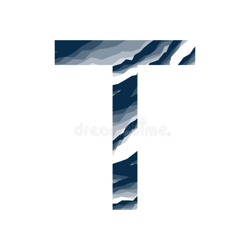 Der Buchstabe T, im Alphabetzusammenfassungs-Hintergrundmarmor, Barke, Berg, Steinschicht stellte dunkelblaue Schattenfarbe lokal lizenzfreie abbildung