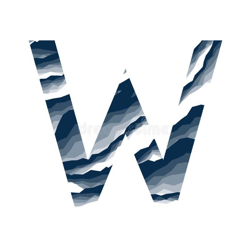 Der Buchstabe W, im Alphabetzusammenfassungs-Hintergrundmarmor, Barke, Berg, Steinschicht stellte dunkelblaue Schattenfarbe lokal vektor abbildung