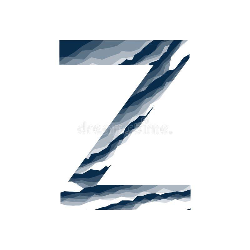 Der Buchstabe Z, im Alphabetzusammenfassungs-Hintergrundmarmor, Barke, Berg, Steinschicht stellte dunkelblaue Schattenfarbe lokal stock abbildung