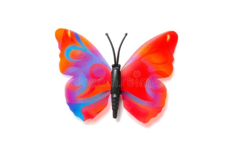 Der bunte Schmetterling lokalisiert auf weißem Hintergrund stockbilder