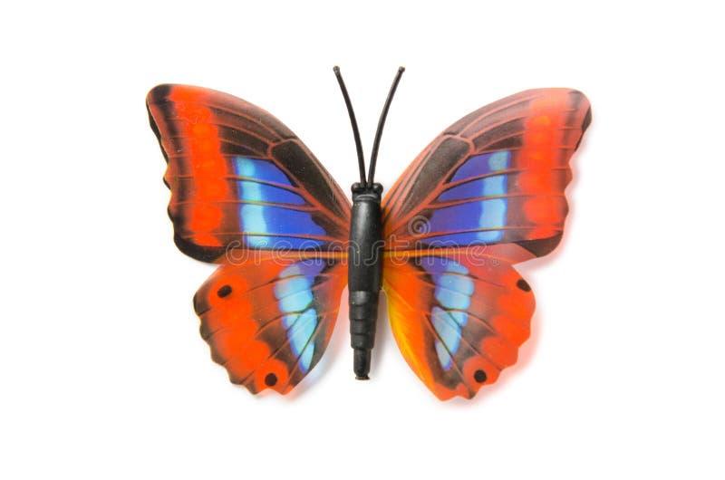 Der bunte Schmetterling lokalisiert auf weißem Hintergrund lizenzfreies stockbild