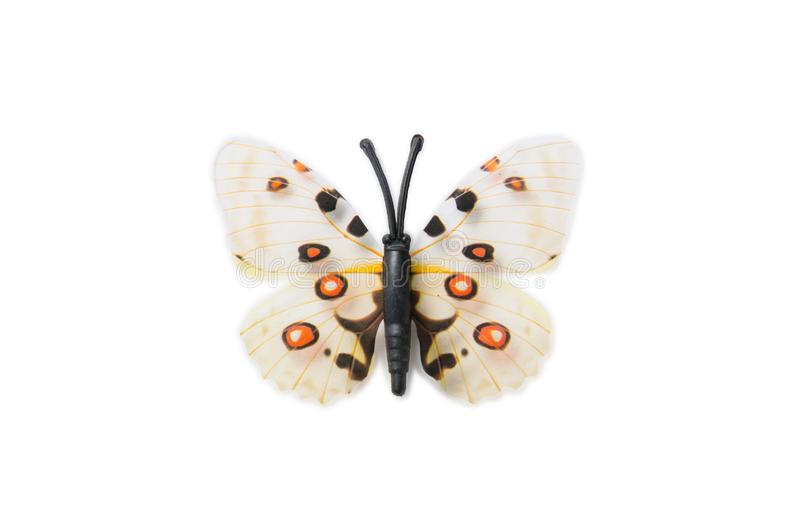 Der bunte Schmetterling lokalisiert auf weißem Hintergrund stockfoto