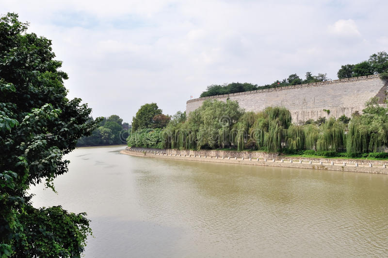 Der Burggraben der alten Stadtmauer in Nanjing stockfotografie