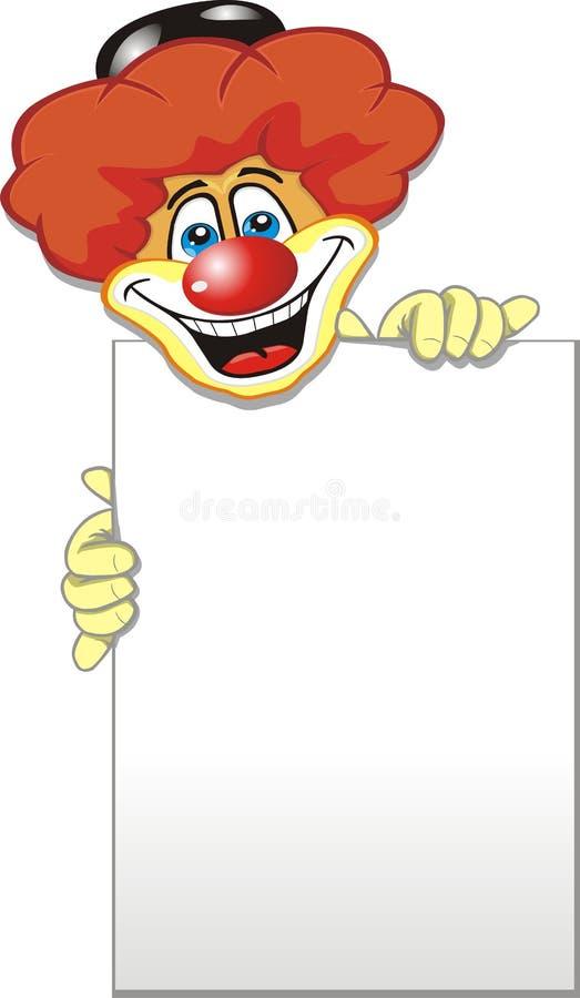 Der Clown hält ein leeres Blatt Papier lizenzfreie abbildung