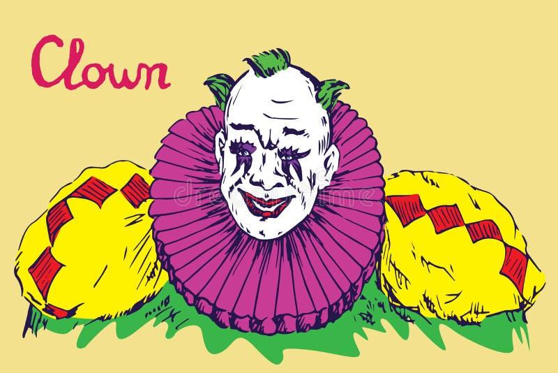 Der Clown im hellen Kostüm mit dem grünen Haarlächeln stock abbildung