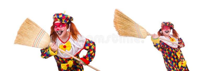 Der Clown mit dem Besen lokalisiert auf Wei? lizenzfreies stockfoto