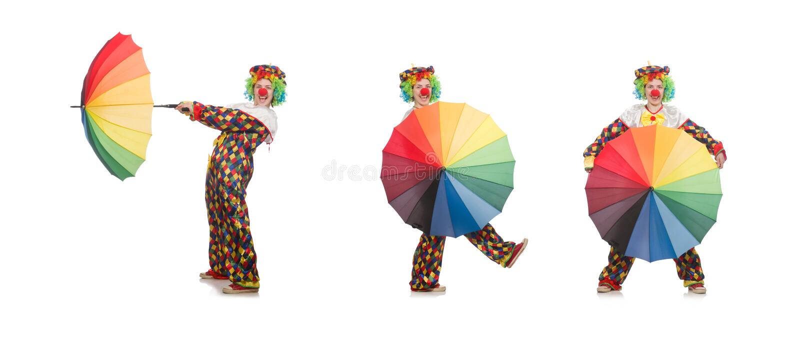 Der Clown mit dem Regenschirm lokalisiert auf Weiß stockfotos