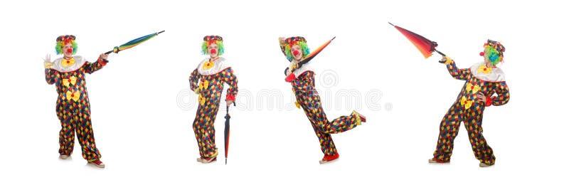 Der Clown mit dem Regenschirm lokalisiert auf Wei? lizenzfreie stockbilder