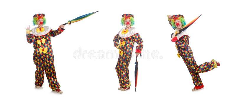 Der Clown mit dem Regenschirm lokalisiert auf Wei? stockbild