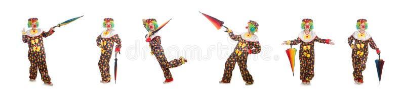 Der Clown mit dem Regenschirm lokalisiert auf Wei? lizenzfreie stockfotografie